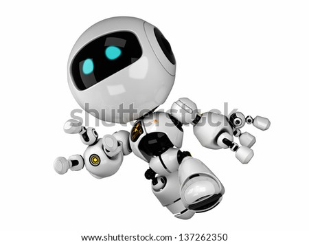 Cute running robot isolated on white / Running robotic toy - stock photo