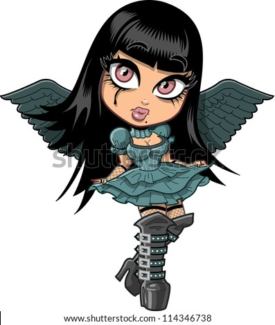 Cute sad goth girl with eyeliner, wings and leather boots - stock photo