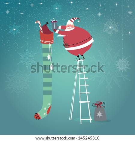 Cute Santa Claus on ladder putting gifts into extra long Christmas stocking.   - stock photo