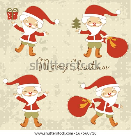 Cute Santas collection. Raster version - stock photo