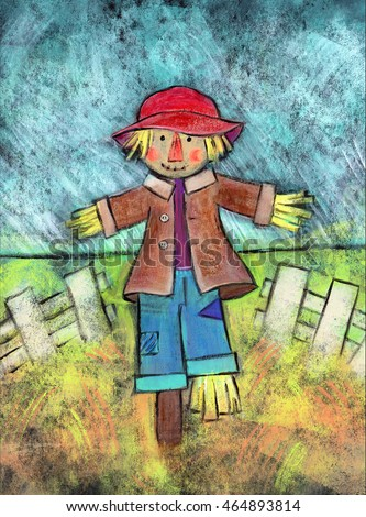 Cute Scarecrow - Acrylic painting of a scarecrow standing in a field with a white fence behind him