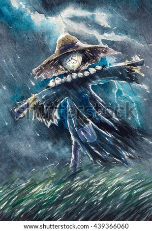 Cute scarecrow with small birds on arms during rainy night.Picture created with watercolors.