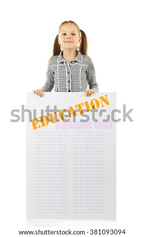 Cute school girl in causal with green blackboard for your text, isolated on white - stock photo