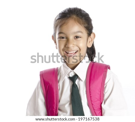 Cute School Girl  Smiling - stock photo
