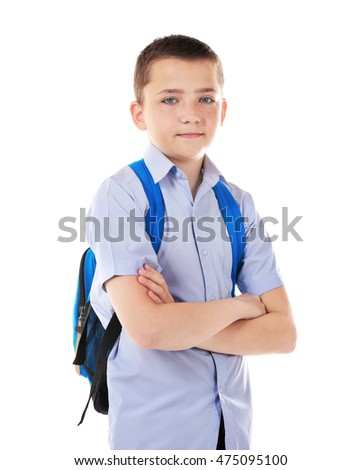 Cute schoolboy, isolated on white