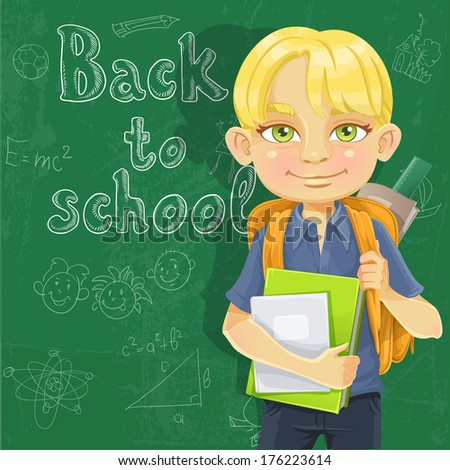 Cute schoolboy with textbooks and notebooks backpack near blackboard - stock photo