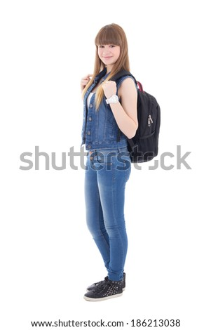 cute schoolgirl with backpack isolated on white background - stock photo