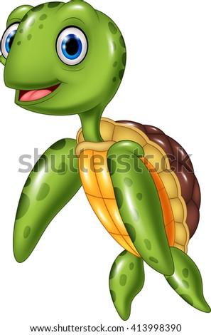 Cute sea turtle - stock photo