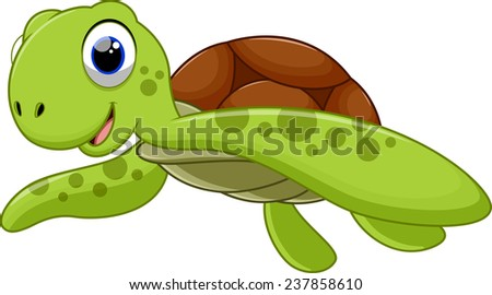 Cute sea turtle cartoon - stock photo