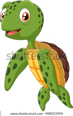 Cute sea turtle cartoon waving hand - stock photo