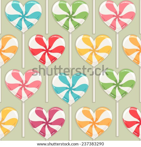 Cute seamless background with different color striped candy hearts - stock photo