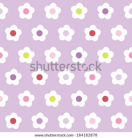 Cute seamless background with retro flower pattern in pink and purple for baby, Mother's Day, Easter, gift wrapping paper. Raster version. - stock photo