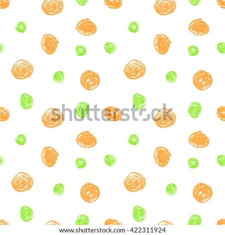 Cute seamless grunge childish pattern of the crayon orange and green stains on white background. Design for background, textile, paper packaging, wrapping paper and other. Raster copy of vector file. - stock photo