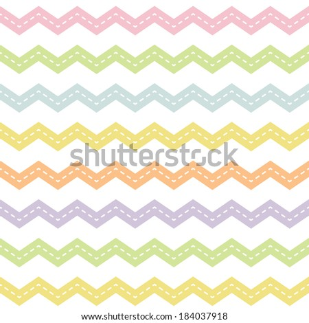 Cute seamless hipster background with chevron pattern in spring colors for baby, Mother's Day, Easter, gift wrapping paper. Raster version. - stock photo