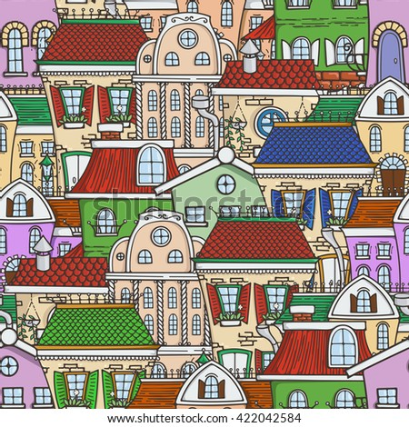 Cute seamless pattern of doodle houses. Elegant sketch. - stock photo