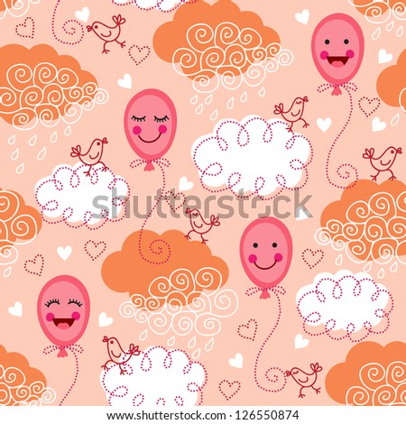 Cute seamless pattern with balloons, birds and clouds. Raster version. Vector is also available in my gallery - stock photo