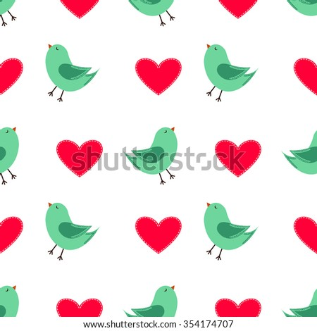 Cute Seamless Pattern with Happy Green Birds and Red Hearts for the Valentine's Day