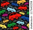 Cute seamless pattern with vintage cars. - stock photo