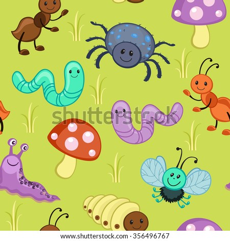 Cute seamless patterns with cartoon happy insects. Raster copy.