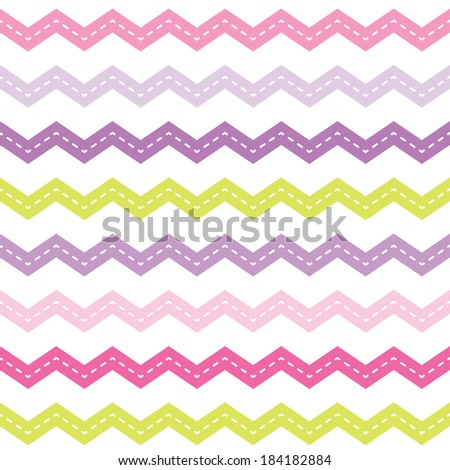 Cute seamless retro background with pink and purple chevron pattern for baby, Mother's Day, Easter, gift wrapping paper. Raster version. - stock photo
