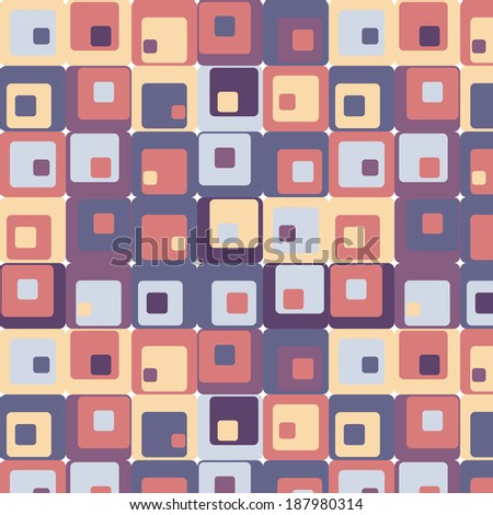 Cute seamless retro pattern of squares. Seamless background can be used for wallpaper, pattern fills, web page background, surface textures. - stock photo