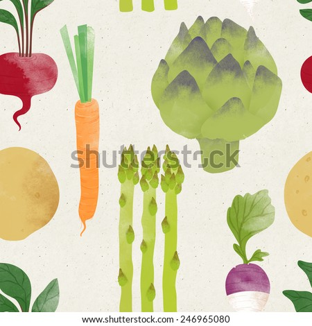 Cute seamless vegetable pattern on paper background. Fruity patterns collection - stock photo