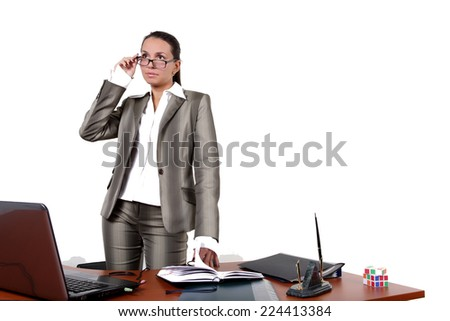 cute secretary at a table light background
