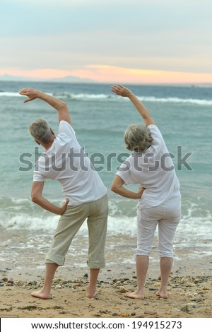 Cute senior couple exercising on a beach