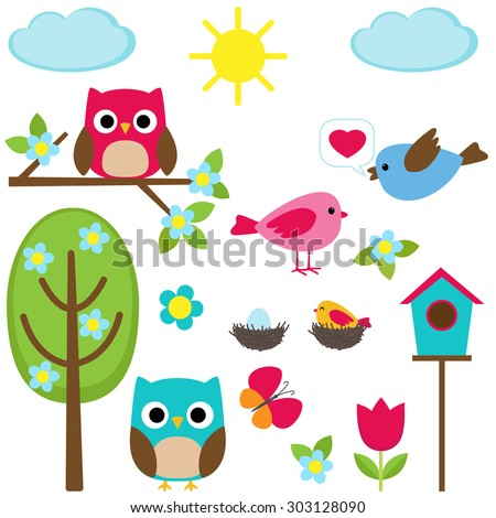 Cute set of different spring elements. Raster version - stock photo