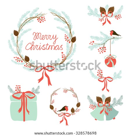 Cute set of hand drawn Christmas symbols as festive wreath, bells, present box, fir tree branches with rowan berries and cones for your decoration - stock photo