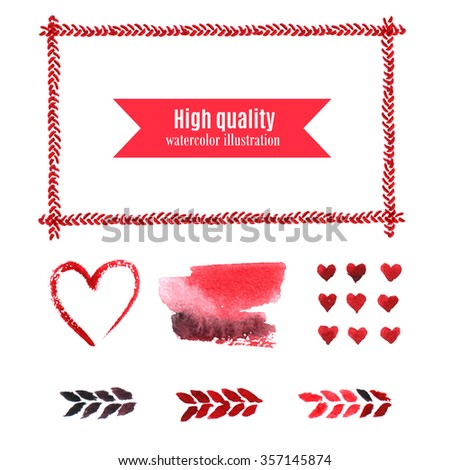 Cute set of watercolor elements for your design and postcards. Rectangular frame and hearts. - stock photo