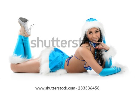 Cute sexy girl in blue christmas costume isolated on white background - stock photo