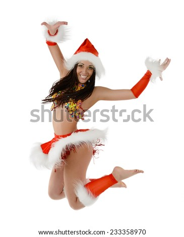 Cute sexy girl in christmas costume jumping isolated on white background - stock photo