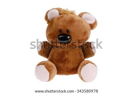 Cute shaggy smiling teddy bear - stock photo