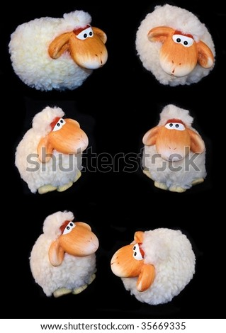 Cute sheep collection - stock photo