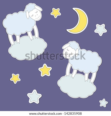 Cute sheep,moon and stars. Raster version - stock photo