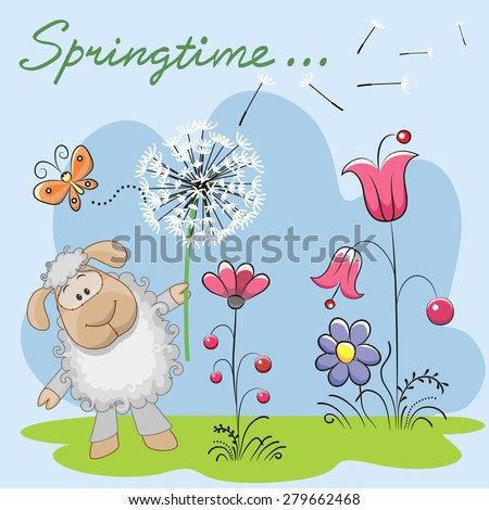 Cute Sheep with dandelion on a meadow  - stock photo