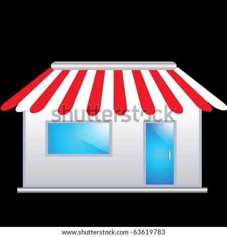 Cute shop icon with red awnings - stock photo