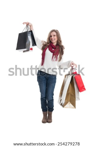Cute shopping lady happy after shopping spree - stock photo