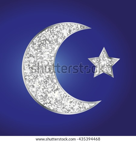 Cute silver glitter moon and star for your decoration