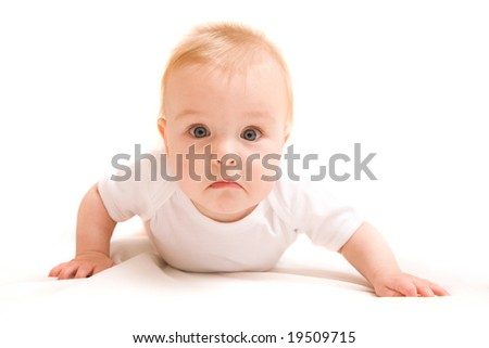 Cute six month baby on white background