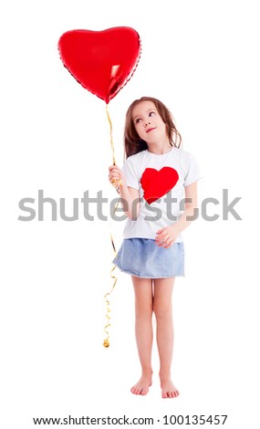 cute six year old girl  with a big red heart-shaped balloon, isolated against white background