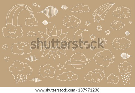 Cute sky doodle with clouds, sun, moon, planet, rainbow.