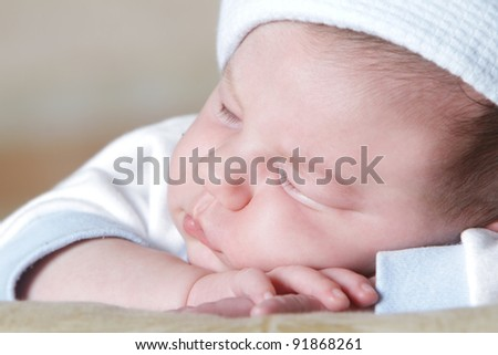 cute sleeping newborn baby portrait