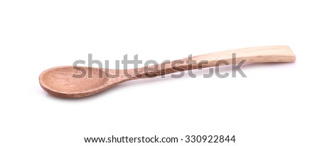 cute small and tiny Wood spoon, on white background,isolated object