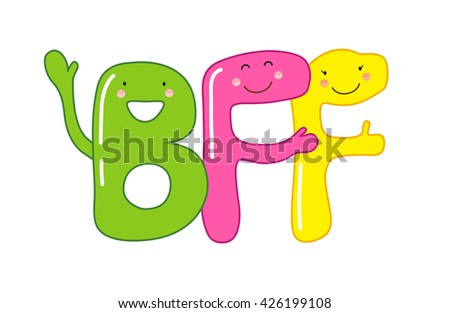 Cute smiling cartoon characters of letters BFF (Best Friends Forever), can be used as banner or greeting card for World Friendship Day, National Best Friends Day etc