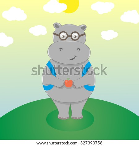 Cute smiling cartoon hippo in eyeglasses with backpack and an apple. Scholar goes to school. Back to school concept. - stock photo
