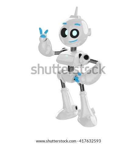 Cute smiling 3D robot greeting, isolated on white background