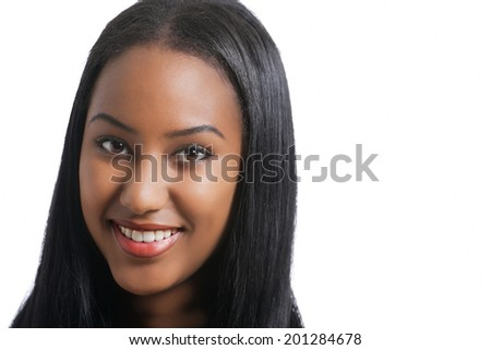 Cute smiling girl, a face portrait with copy space - stock photo
