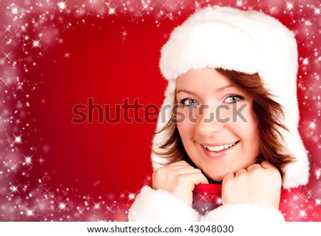 cute smiling girl in xmas clothes with snowflake frame